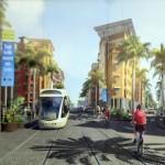 tram-train image au Port devant immeuble Malaca transports